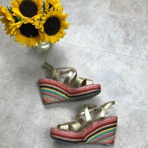 kate spade Shoes - kate spade Rainbow Rope Wedges Size 7